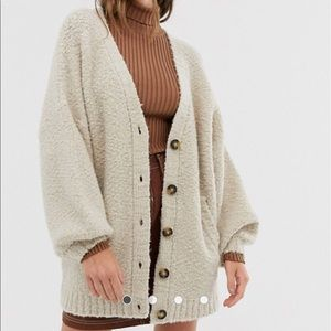 ASOS wool blend oversized sweater coatigan 14 XL